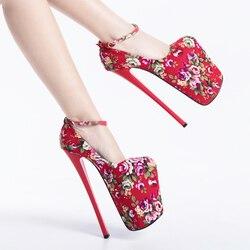 Zapatos de tacón de aguja para mujer, calzado de tacón alto con plataforma para otoño, 22CM, flores poco profundas, zapatos de fiesta de boda, 2019