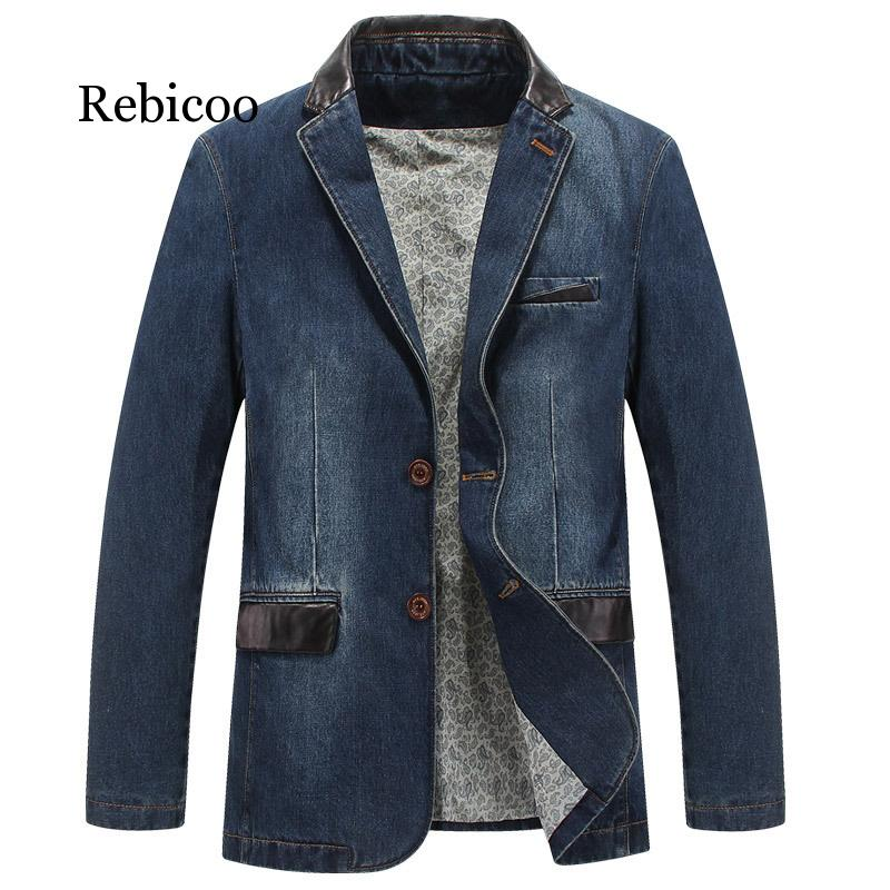 Brand Mens Denim Blazer Spring Autumn Fashion Male Slim Fit Casual Denim Suit Jacket Men Blazer Coat Terno Masculino 4XL