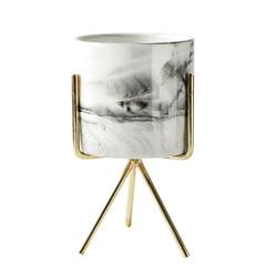 Nordic domu minimalistyczny styl marmuru wazon z kutego żelaza blat soczysty kwiat garnek złota + biały ceramiczny L w Doniczki i skrzynki do kwiatów od Dom i ogród na
