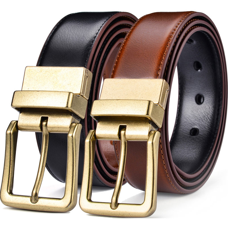 Men's Leather Reversible Belts And Adjustable, Fashion Genuine Leather Mens Dress Belt With Antique Style Rotated Buckle 2 In 1