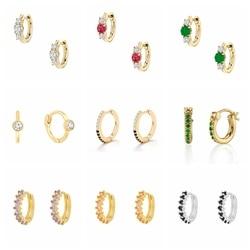 ROXI Romantic Colorful Zircon Crystals Gemstones Round Hoop Earrings for Women Wedding Earrings 925 Sterling Silver Jewelry