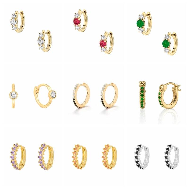ROXI-pendientes redondos de aro con cristales de circonita para mujer, joyas de boda, joyería de plata de ley 925