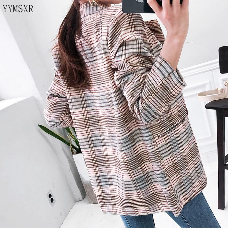 Fashion ladies plaid jacket feminine small suit 2020 new autumn and winter slim double-breasted women's blazer Coat Female