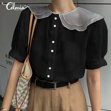 Celmia 2020 Summer Women Sexy See-through Blouse Casual Short Sleeve Lapel Mesh Tops and Shirt Plus Size Elegant Blusas Feminina(China)