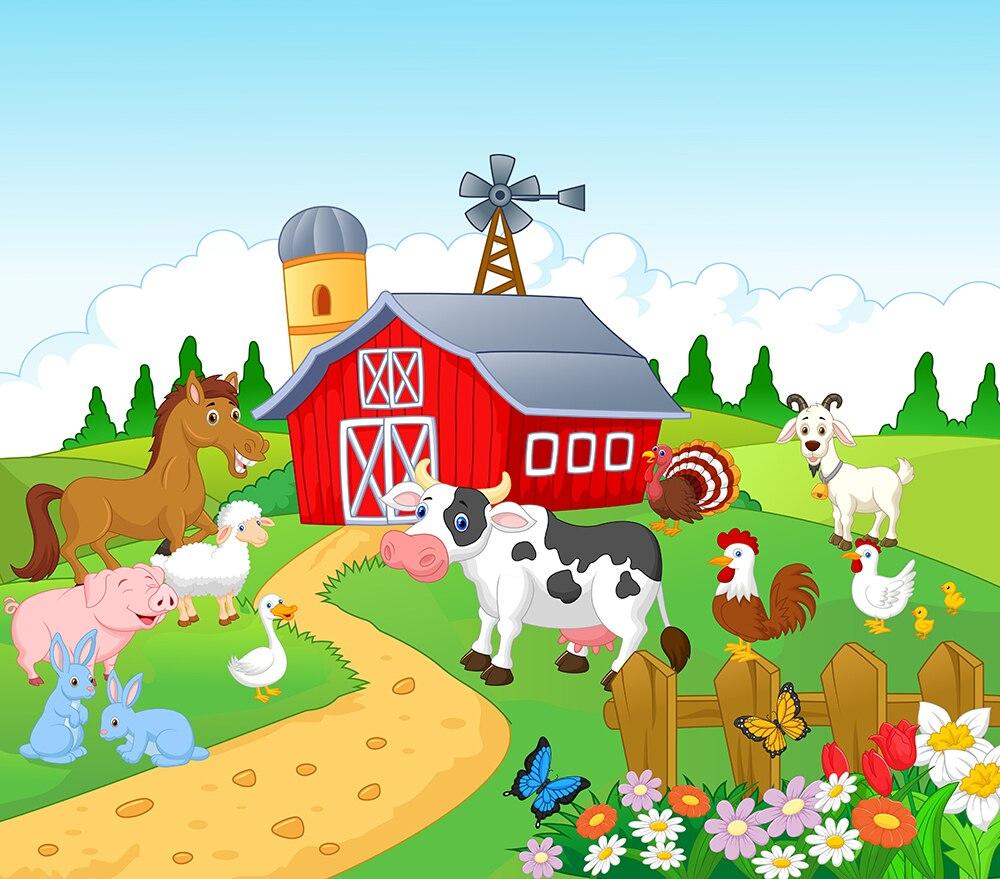 Phenomenal Kids Birthday Backdrop Rural Farm Theme Party Animals Barnyard Personalised Birthday Cards Veneteletsinfo