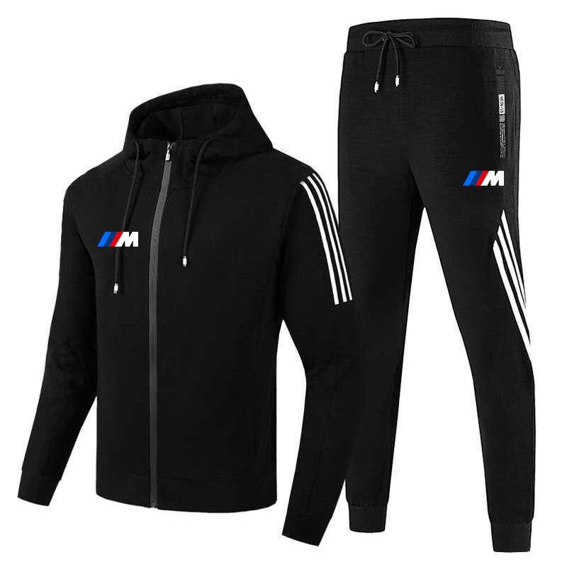 New  M men's fall/winter suit zipper hoodie + pants two pieces of casual sportswear men's sportswear gym brand clothing sport 1