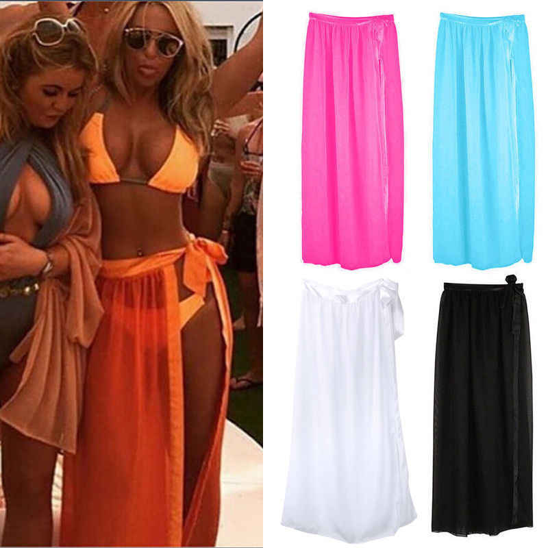 Vrouwen Chiffon Badmode Bikini Cover Up Summer Beach Maxi Wrap Rok Sarong Jurk Vakantie Badpak