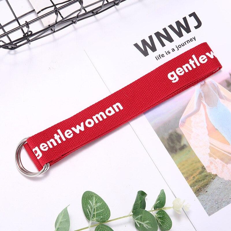 TagerWilen ремень стиль буквы напечатаны мода унисекс двойное D Кольцо холст ремень длинные джинсы ремни для женщин брезентовый мужской ремень - Цвет: GW-Red 1