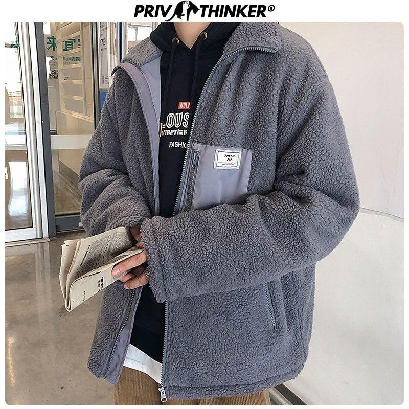 Privathinker Men 2019 Thicken Lambswool Autumn Winter Jacket Parka Men Korean Casual Coat Streetwear Warm Male Clothes 3 Colors