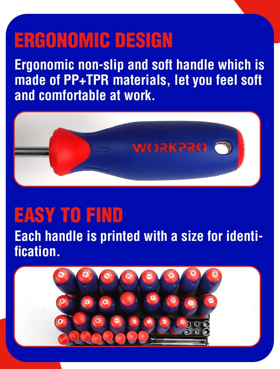 WORKPRO 100PC Screwdriver Set ERGONOMIC Design