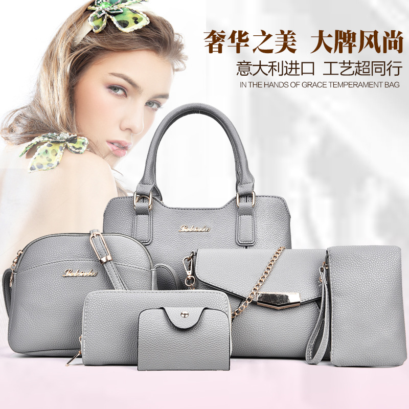 2017 New Style WOMEN'S Bag Fashion Joint Six Pieces Set Different Size Bags Europe And America Fashion Shoulder Bag/ Hand Bag Sh