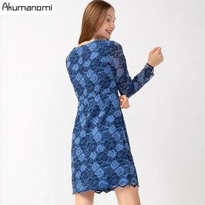 レースプラスサイズ 5XL 秋の女性花の O ネックフルスリーブブルーカジュアルパーティーボディコンミニドレス Vestidos ローブ Jurk sukienki