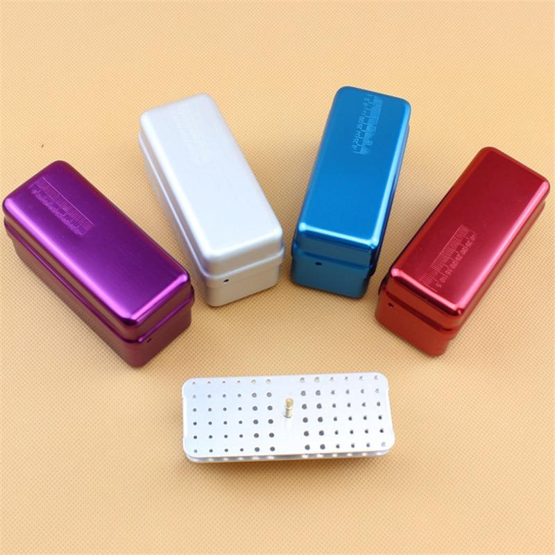 1pcs Aluminum Dental Disinfection Box Autoclave Sterilizer Case Burs Endo Files Holder 72 Holes For Burs Dentist Lab Instrument