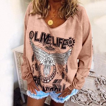 Plus Size Women Sweatshirts Pullovers Live Life Hippe Animal Print Streetwear Sweatshirt Tops Ladies Casual Baggy Blouse Moletom image