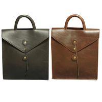 Vintage Men Retro Backpack Briefcase PU Leather Waterproof Shoulder Bag Male Outdoor Travel Rucksack Teenager Boy School Bookbag