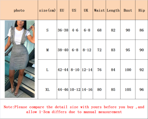 Womens-Bodycon-Check-Dog-Tooth-Frill-Pinafore-Ruffle-Dress-Bodycon-Mini-8-14-UK