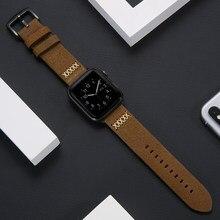 Correa para Apple watch de 40mm, 44mm, 38mm y 42mm, Correa de cuero genuino para iWatch serie 6 SE 5 4 3