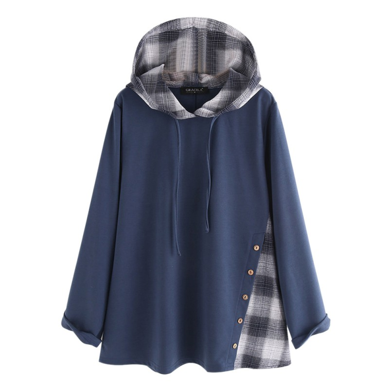 Women Sweatshirt Autumn&Winter Loose Casual Fashion Hoodies Patchwork Plaid Long-Sleeve Sweatshirt