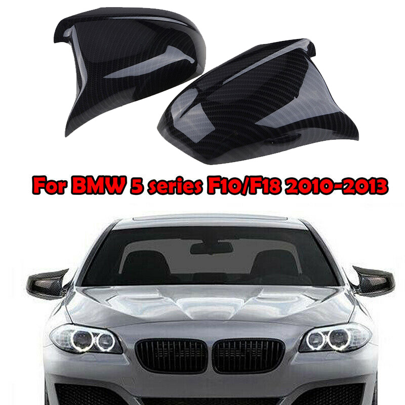 2 adet oto siyah yan dikiz aynası kapağı Trim için BMW F10 pre lci 2011 2013