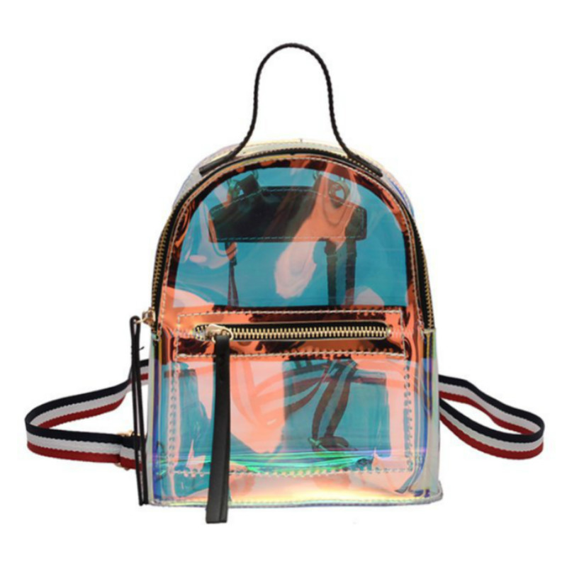 2019 New Women Summer Colorful Transparent Shoulder Bag Fashion Laser Reflective Women Beach Backpack Multi-purpose Backpack