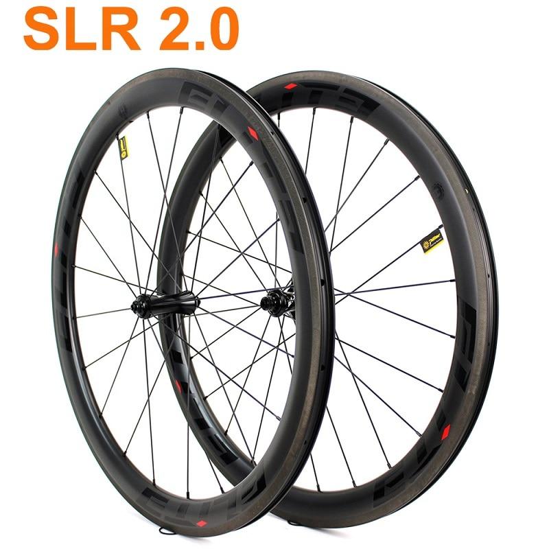 Elite SLR2.0 700c carbone route vélo paire de roues A2 Surface de frein tubulaire pneu Tubeless droit tirer faible résistance moyeu en céramique