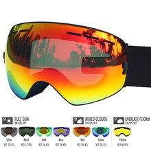 LOCLE лыжные очки двухслойные UV400 Анти-Туман Лыжные очки Снег Катание на лыжах Сноуборд мотокросс очки Лыжные маски или очки