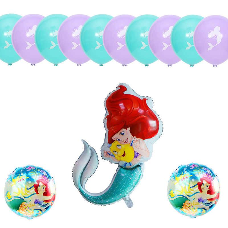 13 ชิ้น/เซ็ต Mermaid princess ฟอยล์ชุดบอลลูน birthday party บอลลูนสัตว์ใต้ทะเลธีมงานแต่งงาน decor วันเกิด