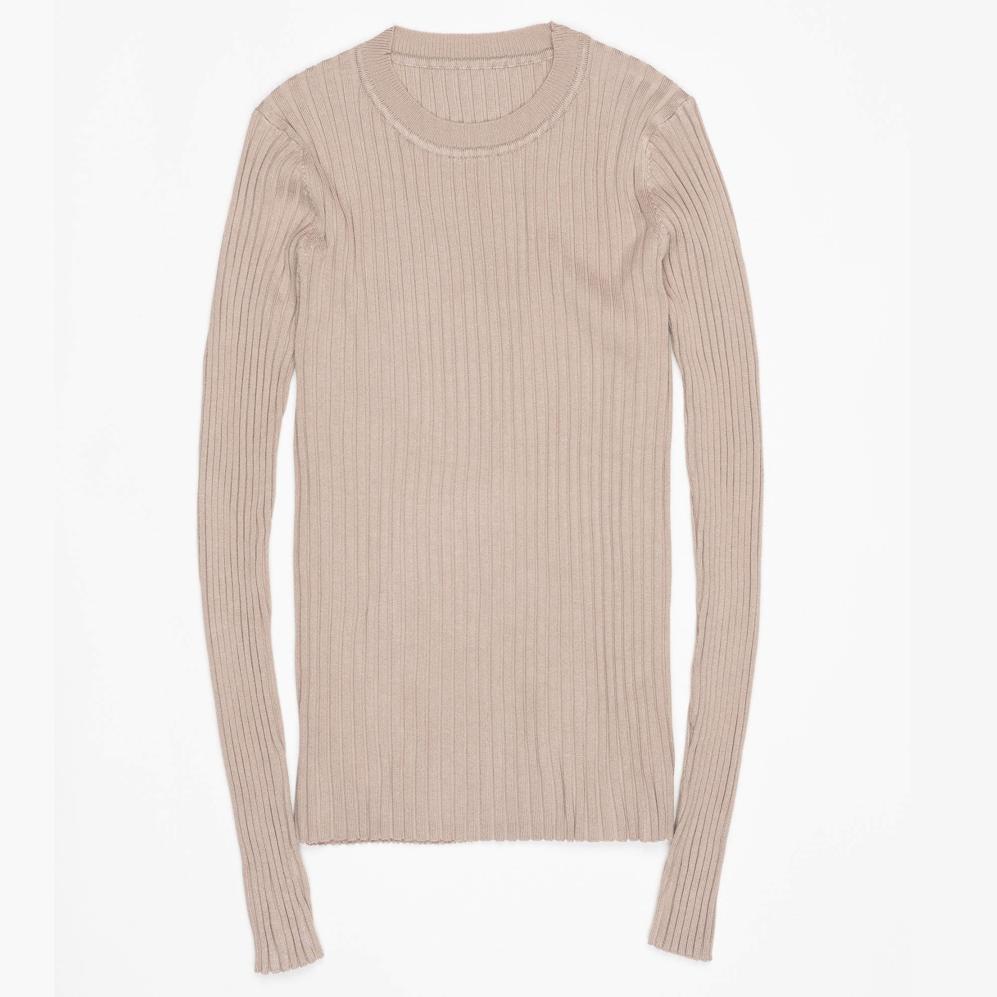 Women Sweater Pullover Basic Ribbed Sweaters Cotton Tops Knitted Solid Crew Neck With Thumb Hole 20