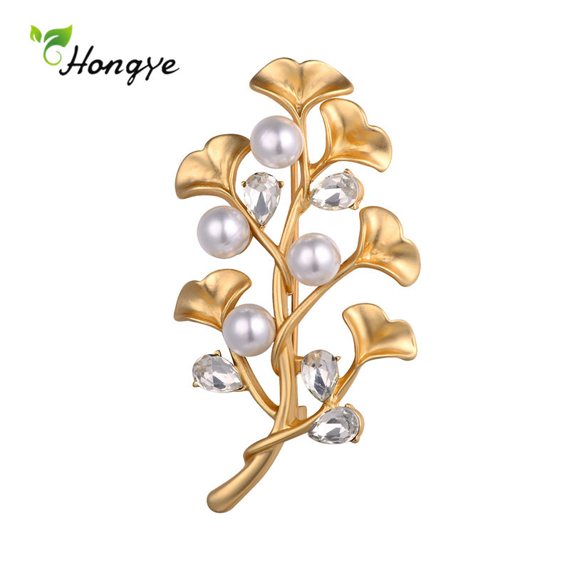 Hongye Fashion Geometric Leaf Pearl Brooches For Women Drop Water Crystal Wedding Party Dress Badge Pin Fine Jewelry 2020 New