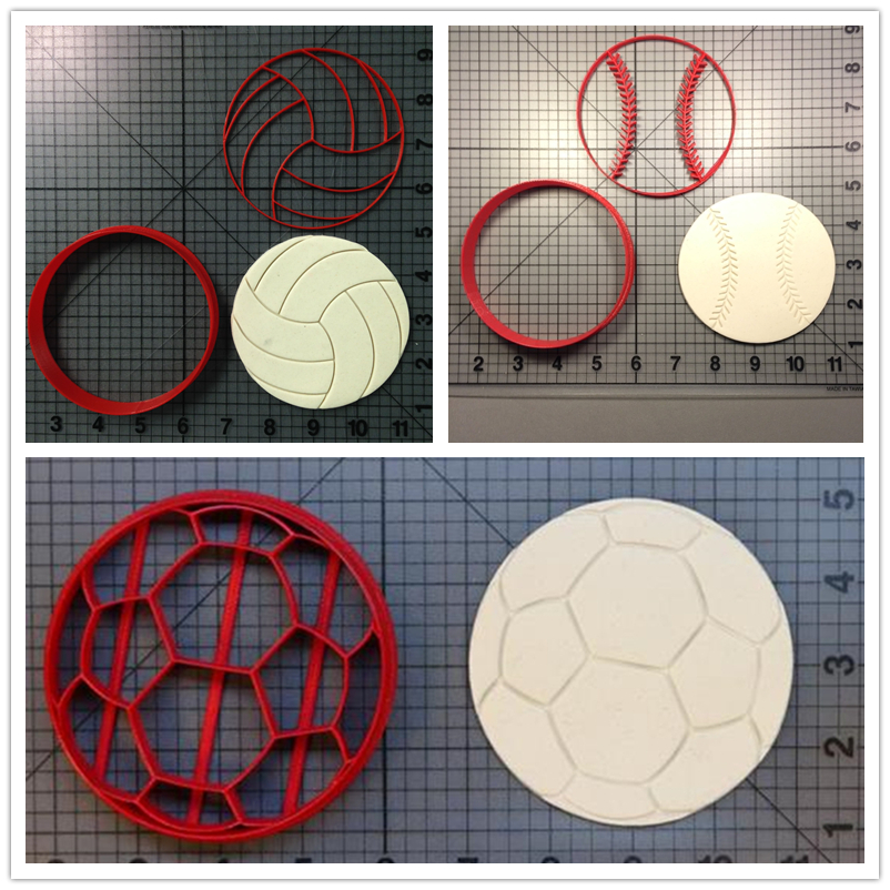 Football Volleyball Baseball Cookie Cutter Kitchen Baking Supplies Cake Icing Decorating Tools Set 3D Printing
