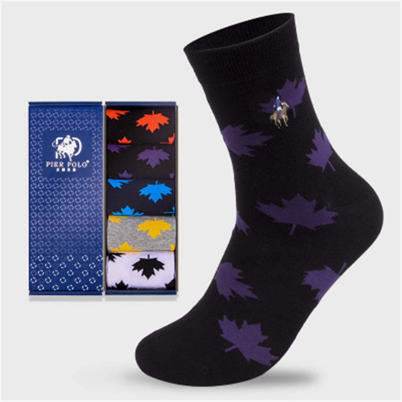 5 пар/PIER POLO, мужские носки, новые осенние и зимние модные Носки с рисунком листьев, качественные хлопковые носки, подарок для мужчин