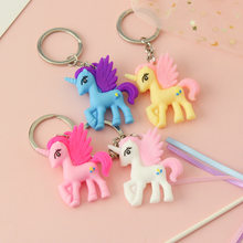 2019 Cute Cartoon Unicorn Keychain Colorful Silicone 3D Animal Horse Key Chain Keyring Women Bag Charms Pendant Key Holder(China)