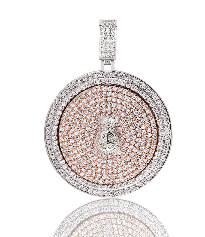 Хип хоп знак доллара мешок денег вращающийся диск Кулон микро проложить Циркон хип хоп ожерелье лед из мужские ювелирные изделия