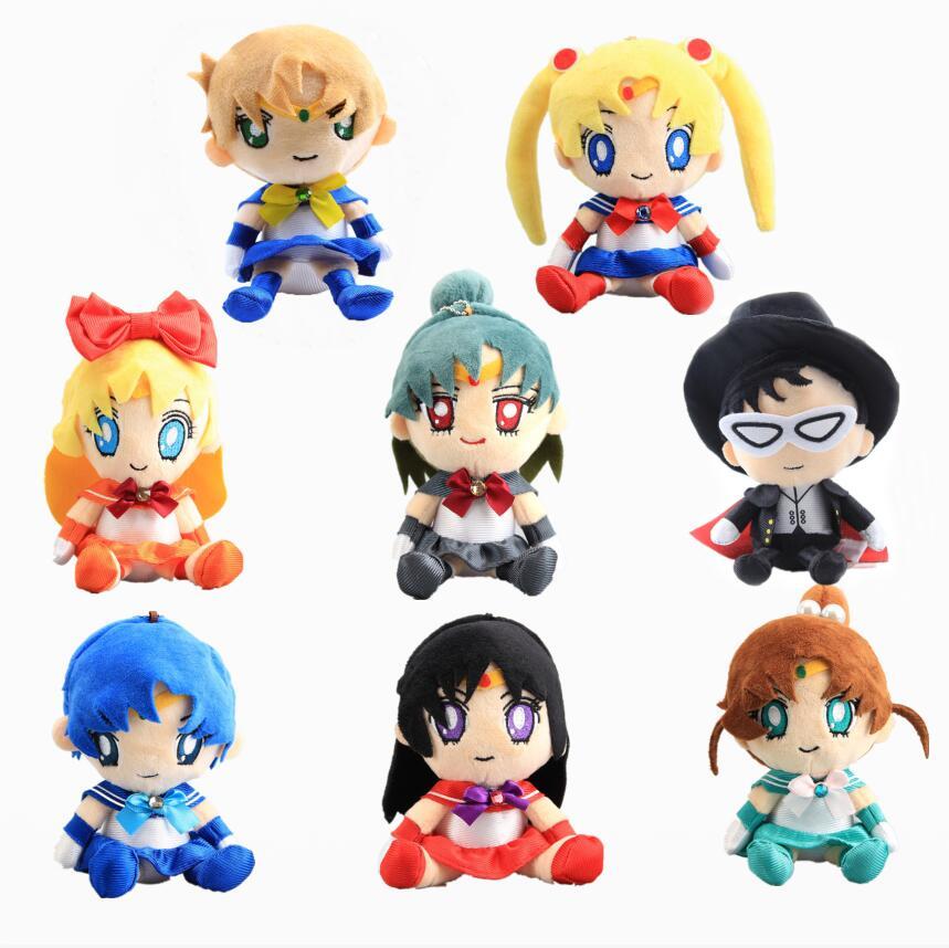 New Arrival 8 pcs/Set Sailor Moon Venus Jupiter Mercury Uranus Pluto Mars Soft Plush Toy Dolls 17-20 cm Girls Gift