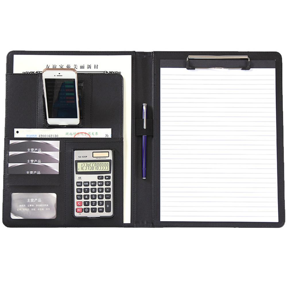 A4 PU Leather Clipboard Folder Multifunction Filing Document File Meeting Holder