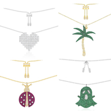 Kelley high quality 925 sterling silver necklace A heart coconut tree shape PM brand design Monaco style ladies fashion jewelry