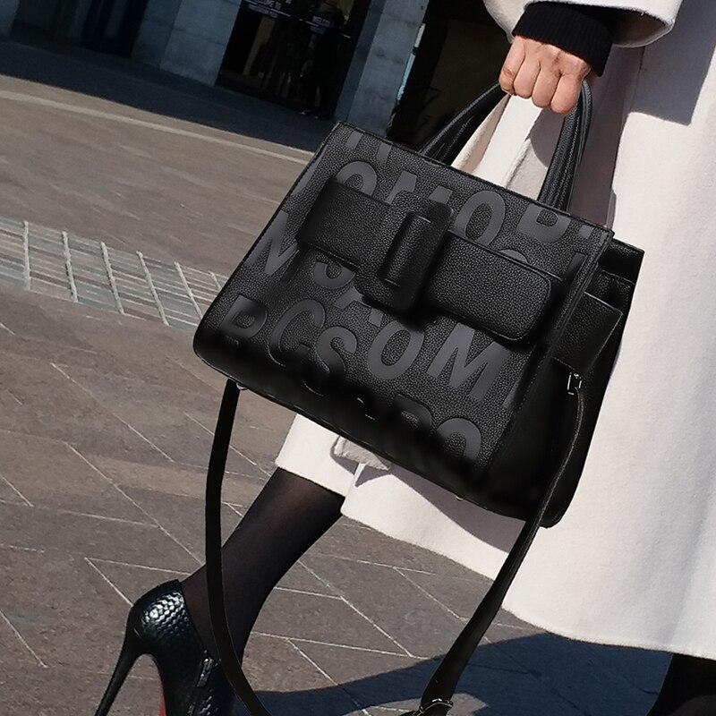 Women Shoulder Leather Bag Fashion Handbag Retro Embossing Leather Ladies Shoulder Bag Large Tote Purse Women Handbag Tote Bag