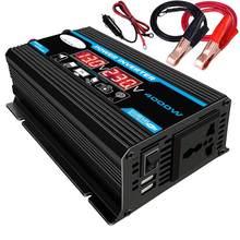 Onduleur de puissance de voiture 4000W 12V 220V/110V Ac, transformateur d'onde sinusoïdale modifié, chargeur, double USB