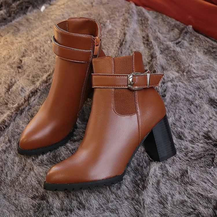 Phụ nữ Mắt Cá Chân Giày Mùa Đông Da Lộn Giày Cao Gót Giày Bốt Thời Trang Nữ mũi Nhọn Đấu Sĩ Đen Giày Da Cho Người Phụ Nữ Plus Kích Thước 42