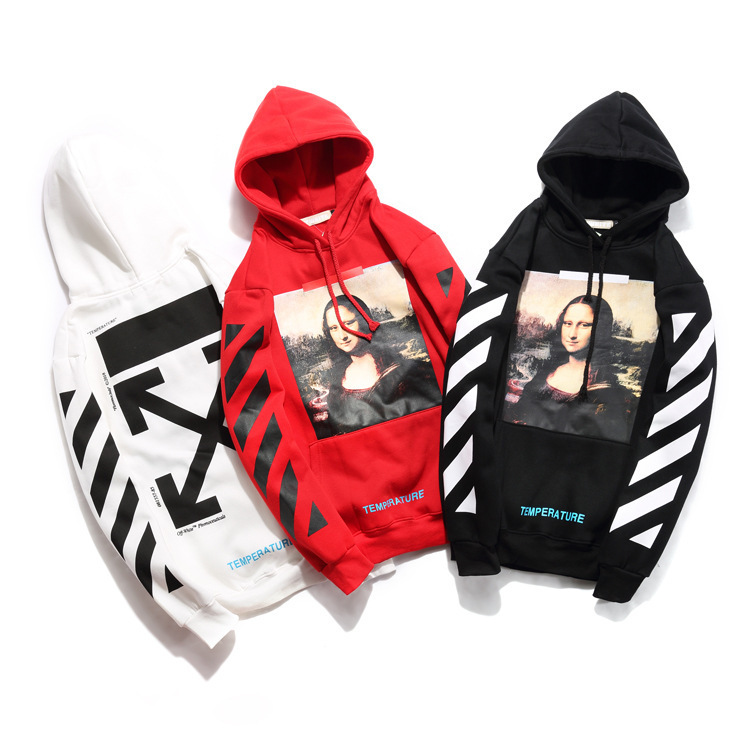 Off European And American Streets Popular Brand Blessed Virgin Mary Printed Hoodie Autumn And Winter Ow White Men And Women Coup