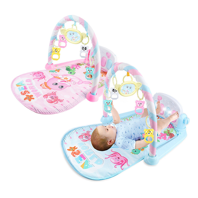Infant Cartoon Cradle Toys Kids Crawling Mat Baby Girls&boys Fitness Frame Multifunction Foot Piano Music Game Blanket