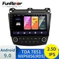 FUNROVER 2.5D + ips магнитола Android 9 0 Автомобильный магнитола мультимедийный плеер для Honda Accord 7 2003-2007 навигация gps 10 1 дюймов магнитола 2 din без dvd c каме...