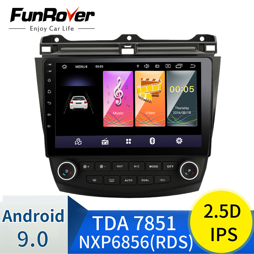 Funrover 2.5D+ IPS Car Radio Multimedia Android 9.0 <font><b>for</b></font> <font><b>Honda</b></font> <font><b>Accord</b></font> 7 2003-2007 car dvd audio stereo player <font><b>gps</b></font> Navigation wifi image