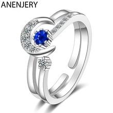ANENJERY Mode Mond Sterne Offene Finger Ring Mit Blau Zirkon Verziert Silber Farbe Schmuck Für Frauen Geschenke S-R484