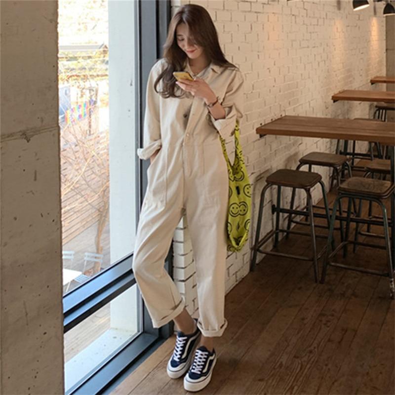 New Solid Wide Leg Pants Jumpsuit Women Long Sleeve One-Piece Suit Casual Student Capri-Pants BF Loose Fashion Suit