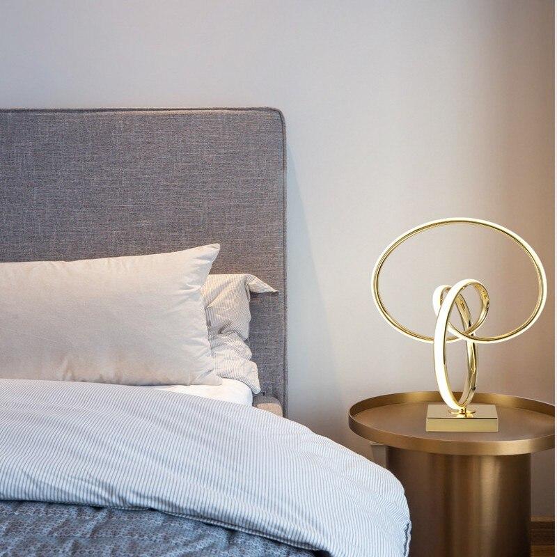 Lámpara de mesa LED Art Deco para living room bebroom lámpara de decoración de escritorio dorada lámpara de escritorio de estilo moderno para la decoración del hogar - 5