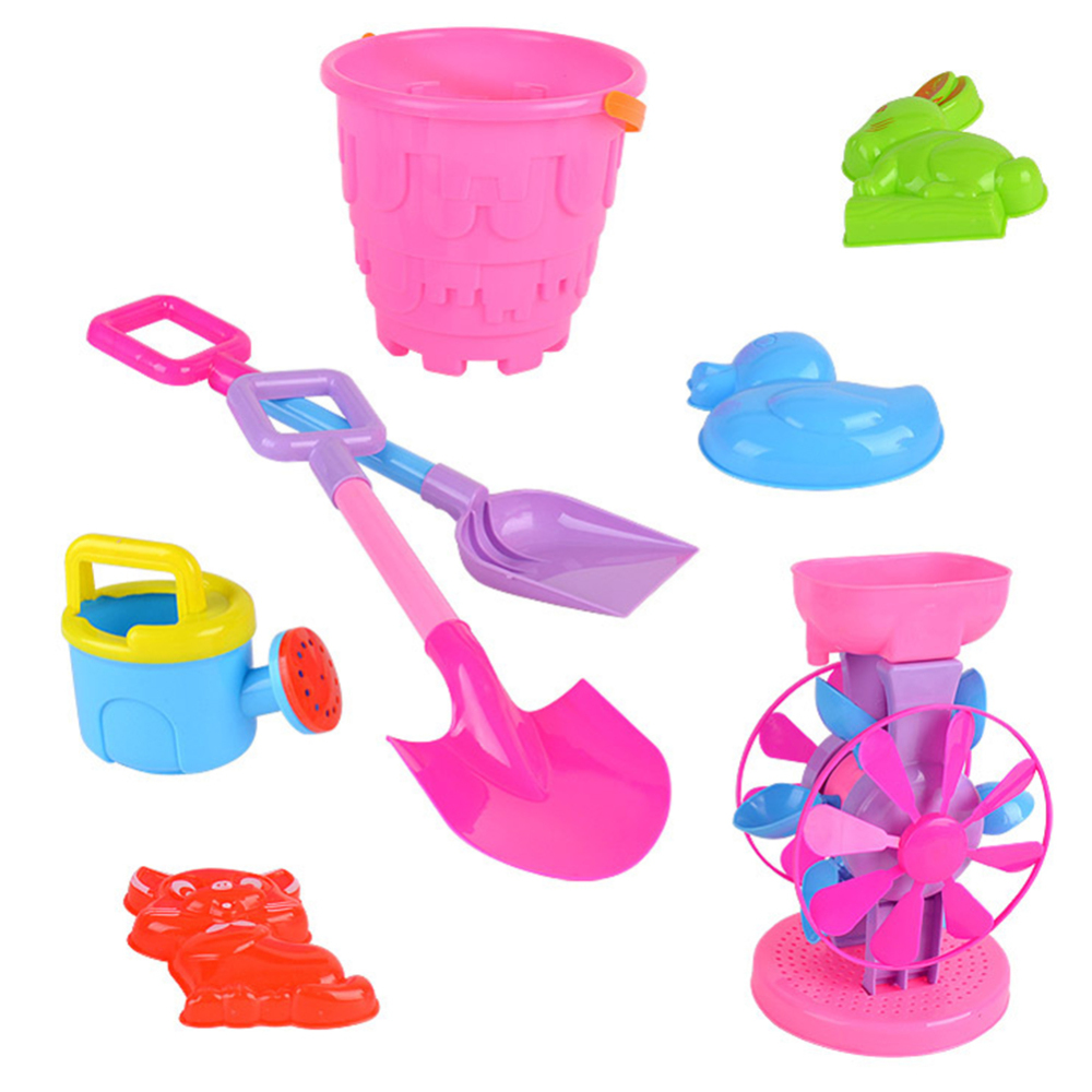 8pcs Kids Outdoor  Beach Sand Game Toys Children Outdoor Beach Playset Role Play Toy Kit Set Shovels Rake Hourglass Bucket