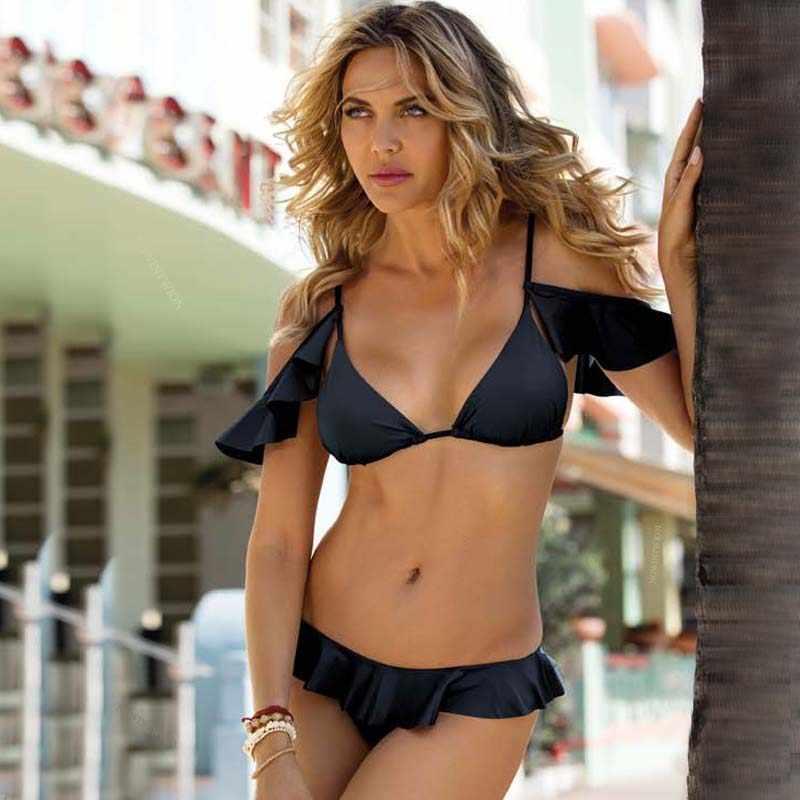 Push Up Sexy Ruffled Bikini 2020 Neue Bademode Frauen Print Bikini Set Plus Größe Badeanzug Sonnenbaden Beathwear Biquini Zwei Stück