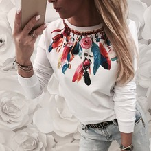 Autumn Fashion Women Cartoon Feather Print Long Sleeve T-Shirts Round Collar Casual Lady Girls Basic Tee T Shirts Tops 2019 New
