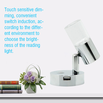 Hot Led Alloy Wall Lamp Rotatable Boat Yacht Dimmable Touch Switch USB Port Bedside RV Reading Light 3W Easy Install Motorhome